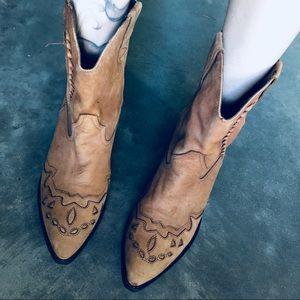 Brazil Cowboy Booties 8.5M Leather Tan Brown